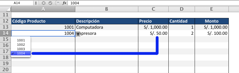 factura automatica codigo producto
